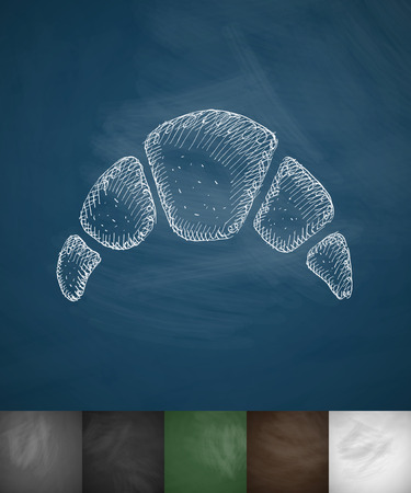 クロワッサンのアイコン。手には、ベクター グラフィックが描画されます。黒板のデザイン