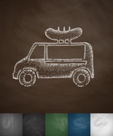 flavored: snack on wheels icon. Hand drawn vector illustration. Chalkboard Design