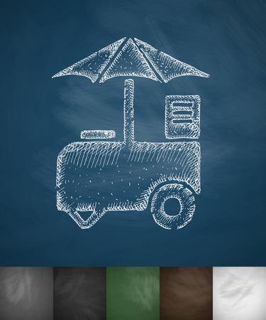 cooled: ice cream van icon. Hand drawn vector illustration. Chalkboard Design