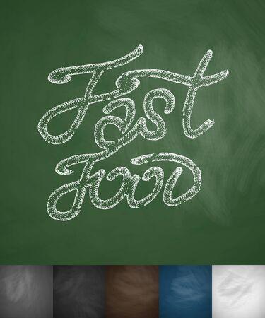 flavored: Fast Food icon. Hand drawn vector illustration. Chalkboard Design Illustration
