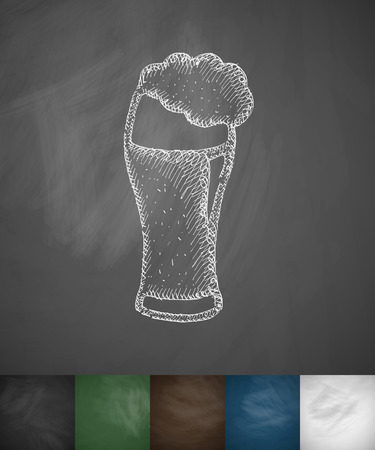 brewer: beer icon. Hand drawn vector illustration. Chalkboard Design