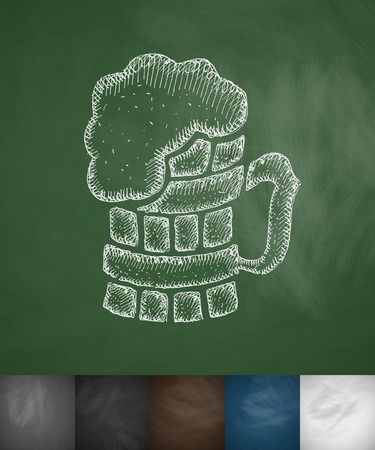 beer icon. Hand drawn vector illustration. Chalkboard Design