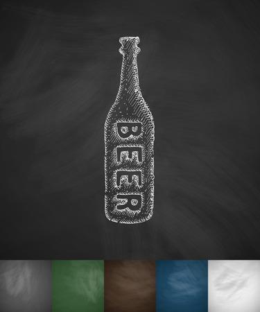 litre: bottle of beer icon. Hand drawn vector illustration. Chalkboard Design