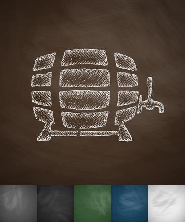 keg: keg of beer icon. Hand drawn vector illustration. Chalkboard Design Illustration