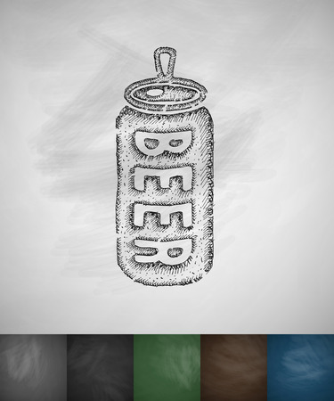 canned beer icon. Hand drawn vector illustration. Chalkboard Design