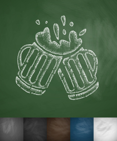 brewer: two mugs of beer icon. Hand drawn vector illustration. Chalkboard Design