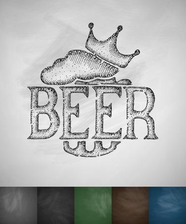 litre: king beer icon. Hand drawn vector illustration. Chalkboard Design Illustration