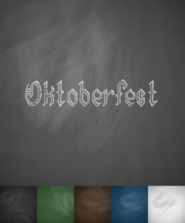 litre: Oktoberfest icon. Hand drawn vector illustration. Chalkboard Design