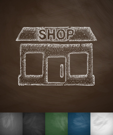 commodity: shop icon. Hand drawn vector illustration. Chalkboard Design
