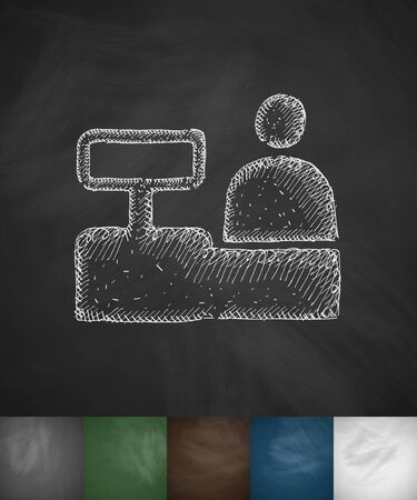 specialty store: salesman behind the counter icon. Hand drawn vector illustration. Chalkboard Design Illustration