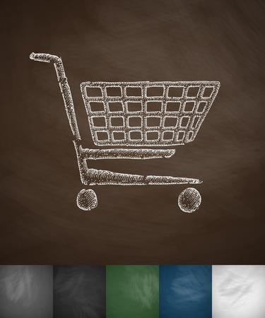 shopping trolley: shopping trolley icon. Hand drawn vector illustration. Chalkboard Design
