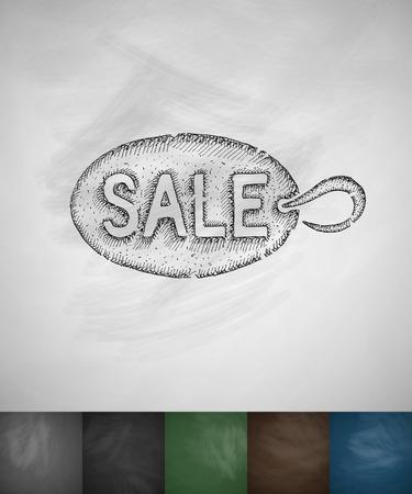 commodity: plate sale icon. Hand drawn vector illustration. Chalkboard Design