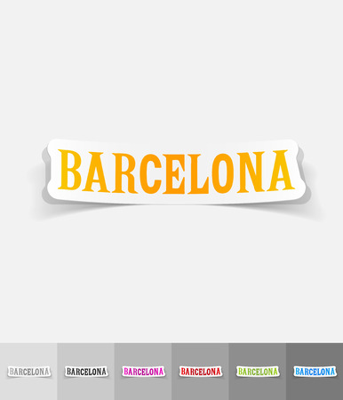 port of spain: Barcelona paper sticker with shadow. Vector illustration
