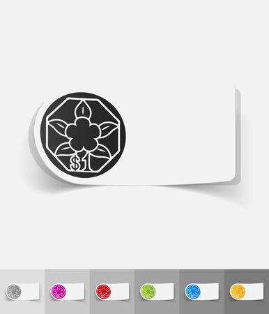 singaporean: one singaporean dollar paper sticker with shadow. Vector illustration