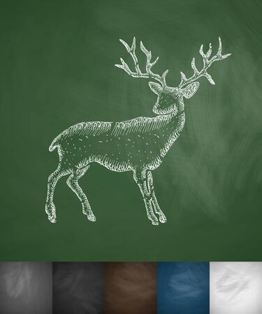 viviparous: deer icon. Hand drawn vector illustration. Chalkboard Design Illustration
