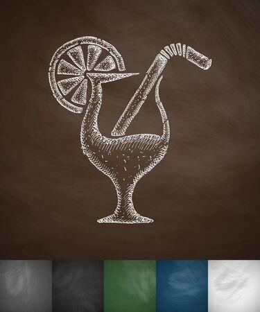spirituous: cocktail icon. Hand drawn vector illustration. Chalkboard Design