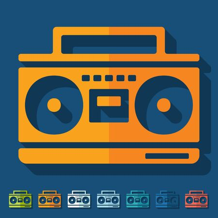 Flat design: cassette recorder