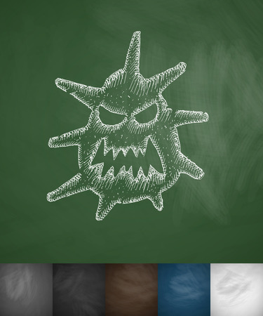sterilization: microbe icon. Hand drawn vector illustration. Chalkboard Design
