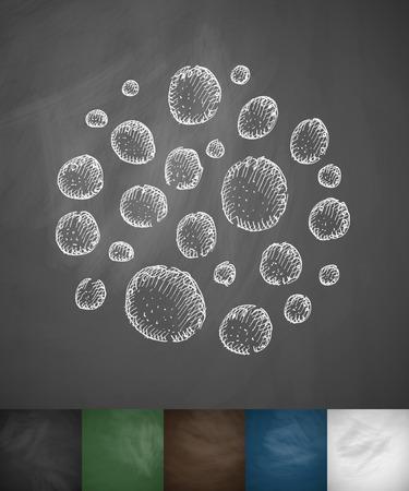 bacterias: icono de bacteria. Dibujado a mano ilustración vectorial. Pizarra Diseño