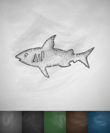 diving board: shark icon. Hand drawn vector illustration. Chalkboard Design Illustration