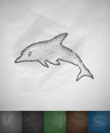 viviparous: dolphin icon. Hand drawn vector illustration. Chalkboard Design