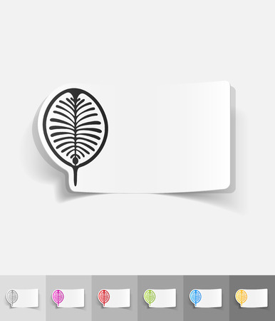 ali: palm Jebel Ali paper sticker with shadow. Vector illustration