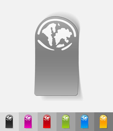 artificially: the World Islands paper sticker with shadow. Vector illustration