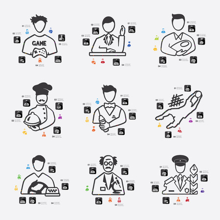 speciality: professions line infographic illustration. Fully editable vector file