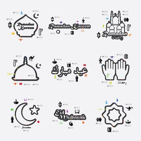 fully editable: ramadan line infographic illustration. Fully editable vector file Illustration