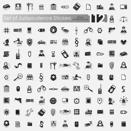 alibi: jurisprudence vector sticker icons with shadow. Paper cut