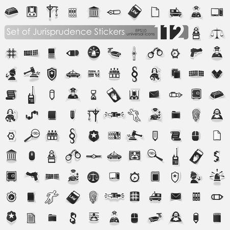 jurisprudencia: jurisprudencia iconos etiqueta del vector con la sombra. Corte del papel Vectores