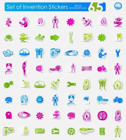invention: invention vector sticker icons with shadow. Paper cut