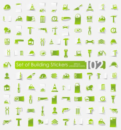 premises: building vector sticker icons with shadow. Paper cut