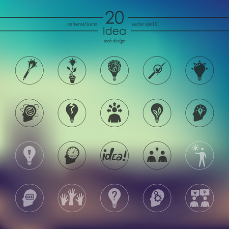 incarnation: idea modern icons for mobile interface on blurred background Illustration
