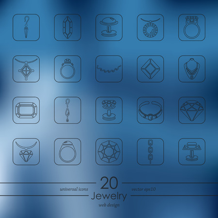 cufflink: jewelry modern icons for mobile interface on blurred background Illustration