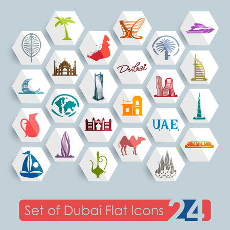 Set of Dubai flat icons for Web and Mobile Applications Illustration