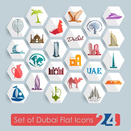 Set van Dubai vlakke pictogrammen voor web en mobiele toepassingen