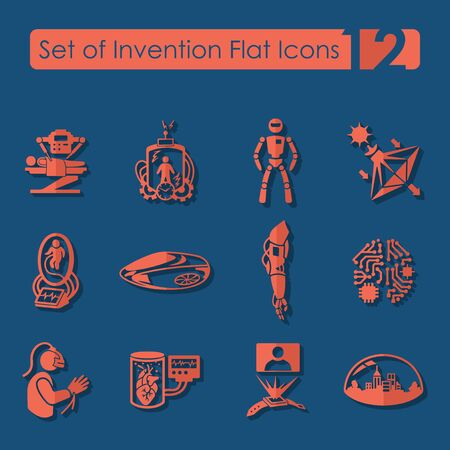progressive art: Set of invention flat icons for Web and Mobile Applications