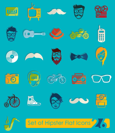 admirer: Set of hipster flat icons for Web and Mobile Applications