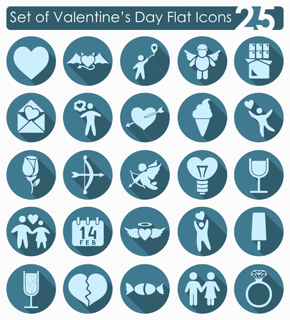 the intimacy: Set of Valentines Day flat icons for Web and Mobile Applications Illustration