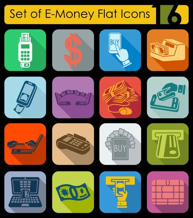liabilities: Set of e-money flat icons for Web and Mobile Applications Illustration