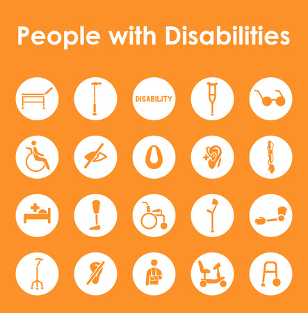 It is a set of people with disabilities simple web icons Stock Vector - 43328031
