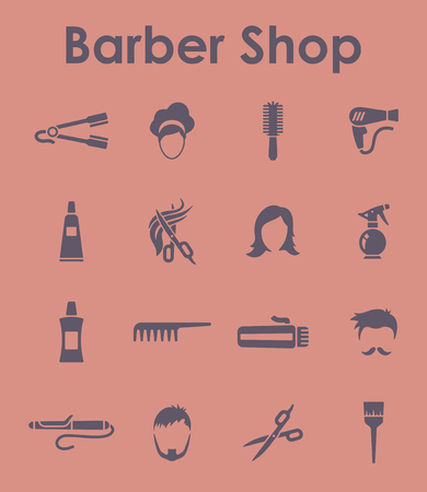 styler: It is a set of barber shop simple web icons Illustration