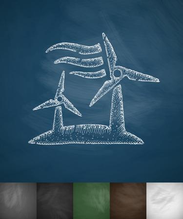 gust: wind turbine icon. Hand drawn vector illustration. Chalkboard Design