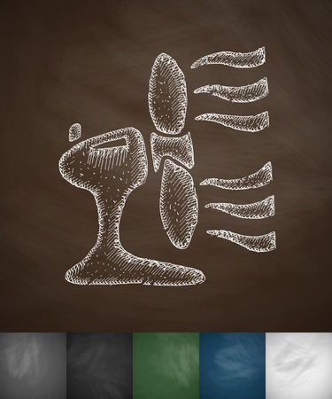 masses: blower icon. Hand drawn vector illustration. Chalkboard Design Illustration