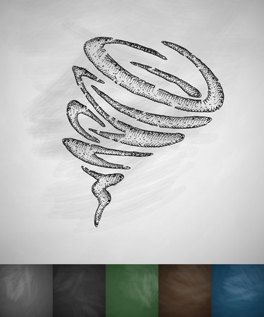 masses: wind funnel icon. Hand drawn vector illustration. Chalkboard Design