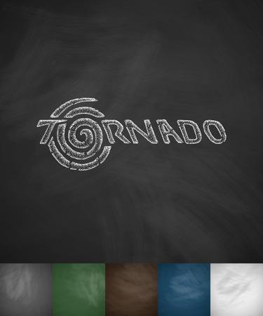 masses: TORNADO icon. Hand drawn vector illustration. Chalkboard Design