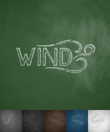 masses: WIND icon. Hand drawn vector illustration. Chalkboard Design