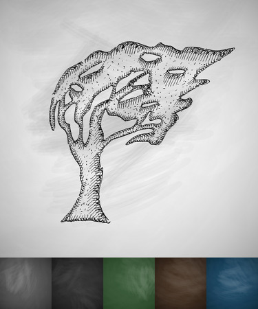 masses: tree blowing in the wind icon. Hand drawn vector illustration. Chalkboard Design