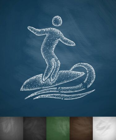hydroplaning: surfer icon. Hand drawn vector illustration. Chalkboard Design
